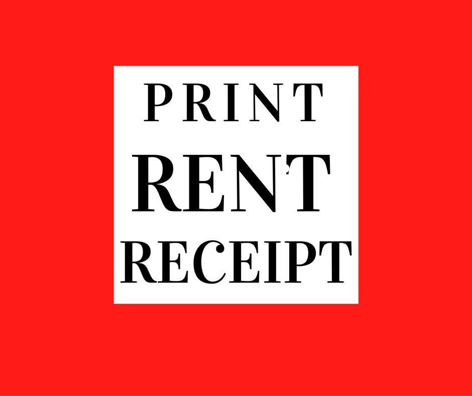 Rent Receipts, Generate Format, Print Rent Receipt India